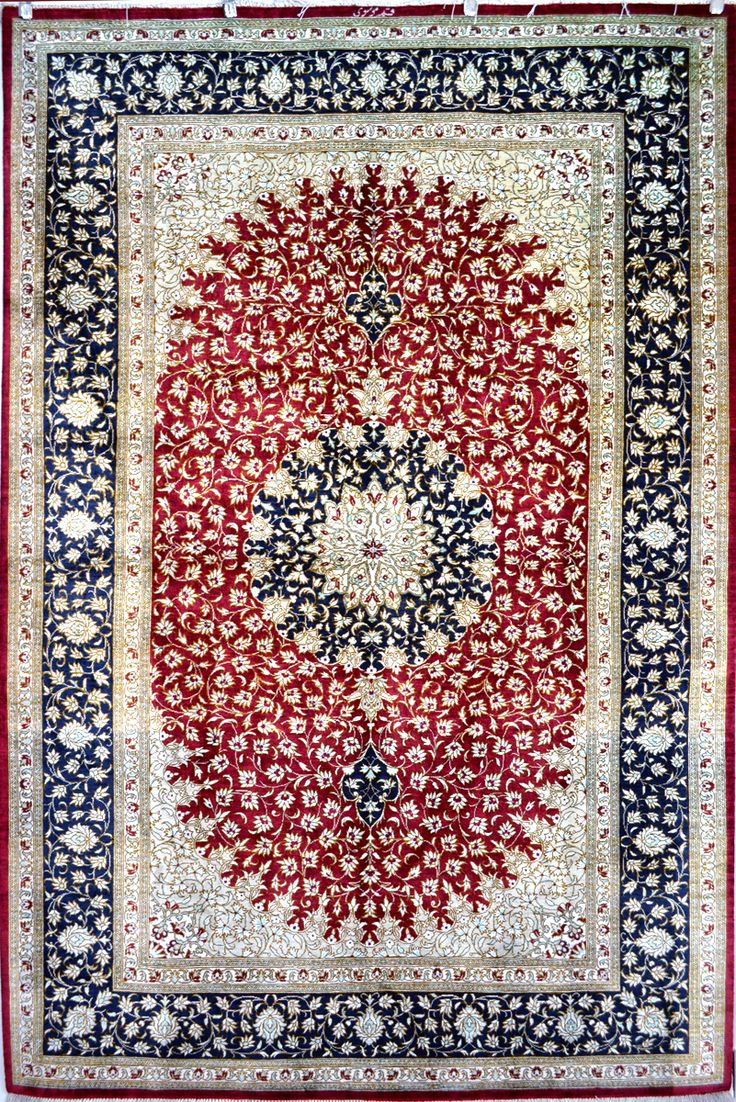 QUM Silk Carpet Silk Persian Rug | Exclusive collection of rugs and tableau rugs - Treasure Gallery QUM Silk Carpet Silk Persian Rug You pay: $4,300.00 Retail Price: $18,500.00 You Save: 77% ($14,200.00) Item#: 1216 Category: Small(3x5-5x8) Persian Rugs Design: Medallion Size: 198 x 128 (cm)      6' 5 x 4' 2 (ft) Origin: Persian Foundation: Silk Material: Silk Weave: 100% Hand Woven Age: Brand New KPSI: 800