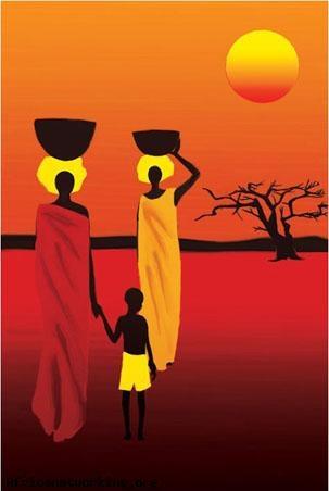 Peinture: femmes et enfant dans la savane Africaine #Afrique