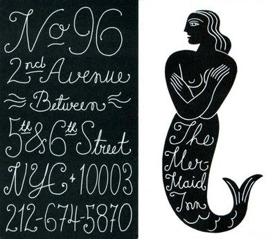 The Mermaid Inn branding - LOVE the vintage, delicate, handwritten type here