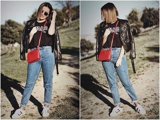 Get this look: http://lb.nu/look/8664197  More looks by Lorenaferrgarr @lorenaferrgarr: http://lb.nu/lorenaferrgarr  Items in this look:  Zara Biker, Mango Bolso Rojo, Pull & Bear Mom Jeans, Calzedonia Calcetines, Adidas Superstar, Primark Camiseta Madrid