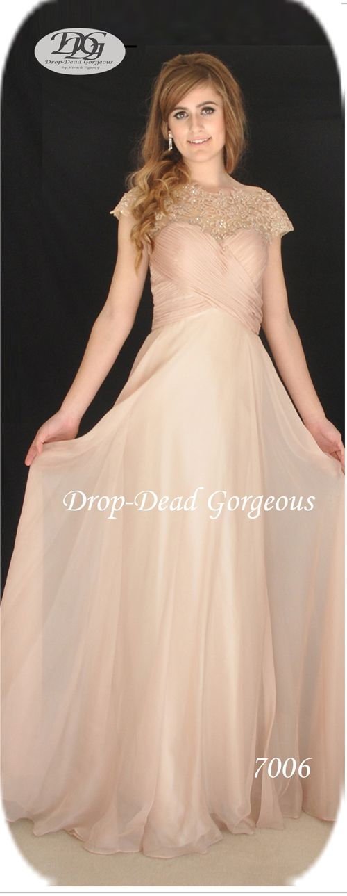 Forever Popular: School Formal and Bridesmaids Dress:  Silky chiffon gown with beaded lace neck and the sheer back. #DDGMA #DropDeadGorgeous #MiracleAgency #Schoolformal #Maids  www.miracleagency.net