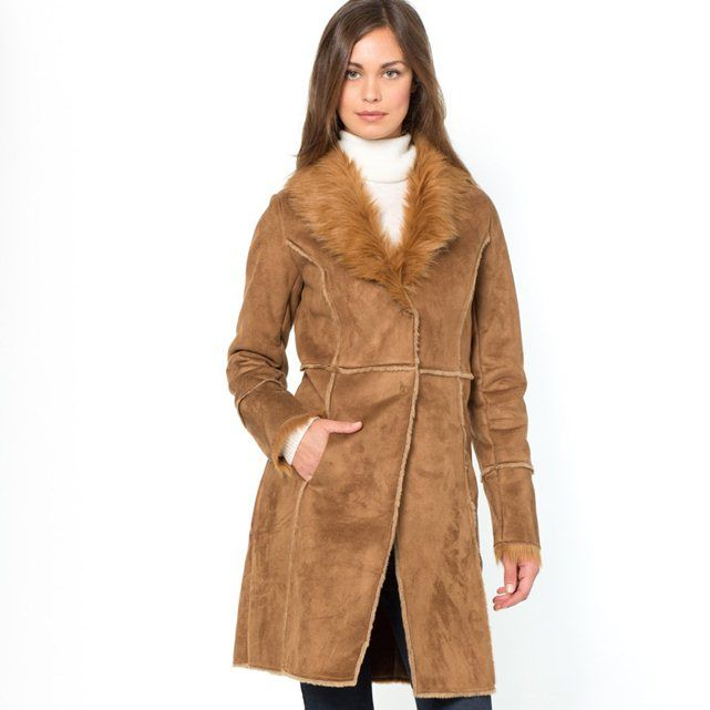 Faux Sheepskin Shawl Collar Coat LAURA CLEMENT