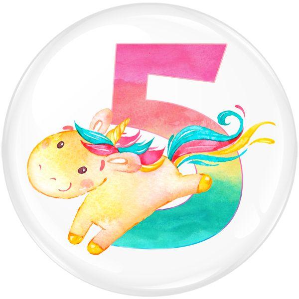 Unicorn 5 Age Birthday Party Badge #452