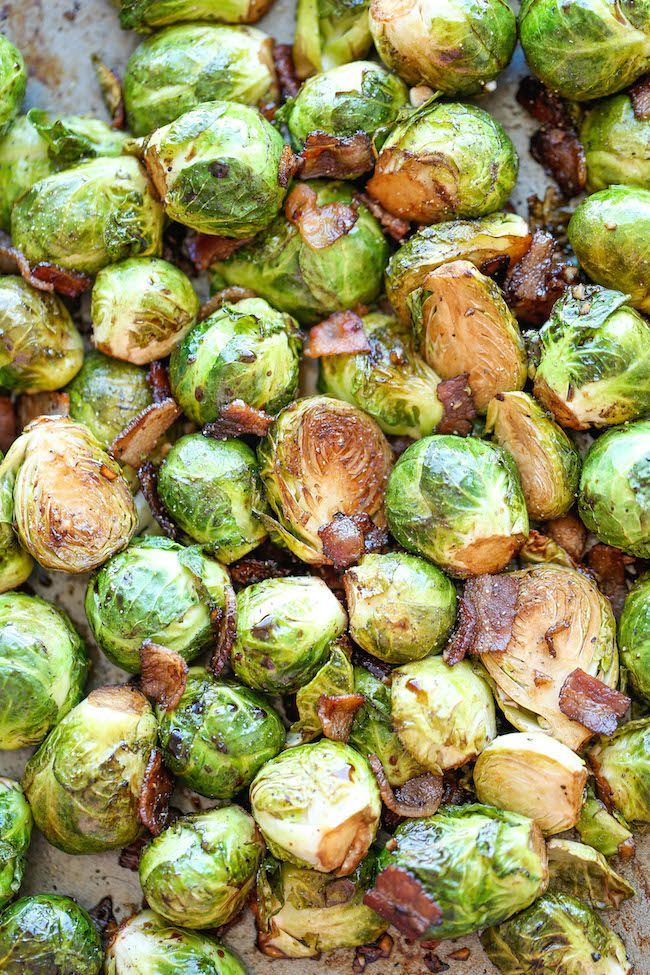 Roasted Garlic Brussels Sprouts - The best garlic brussels sprouts ever, made with garlic and crisp bacon goodness!