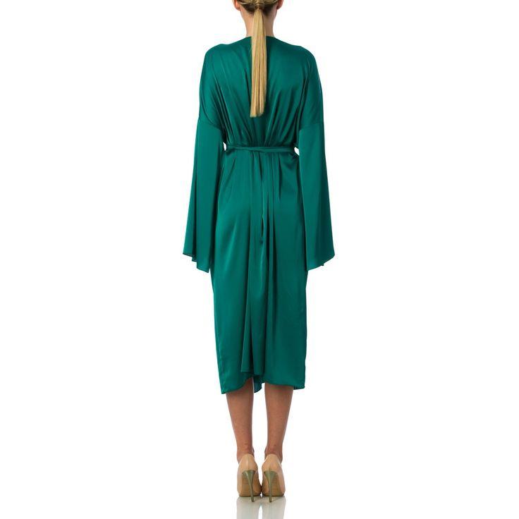 Reversible double face kimono SILK green greenery white dress
