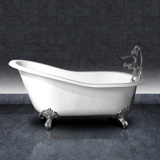 Repaint cast iron tub with silver feet like this