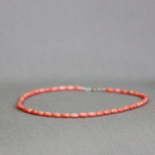 Korálový náhrdelník meruňkový ~ Ag925