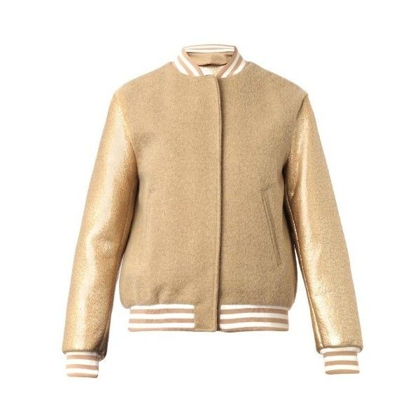 MSGM Resin and fleece-wool bomber jacket ($379) ❤ liked on Polyvore featuring outerwear, jackets, beige, wool fleece jacket, wool bomber jacket, blouson jacket, wool jacket et gold metallic jacket