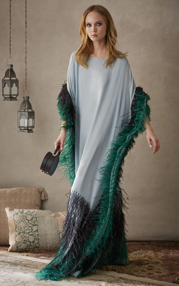 Feathered Caftan by ELIZABETH KENNEDY for Preorder on Moda Operandi