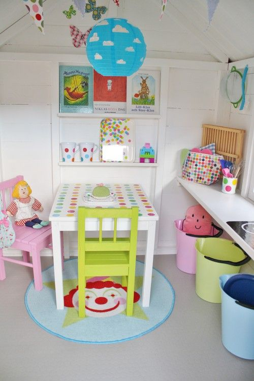 bright & fun; paint inside of play house white and/or pale yellow to clean it up and brighten it up!