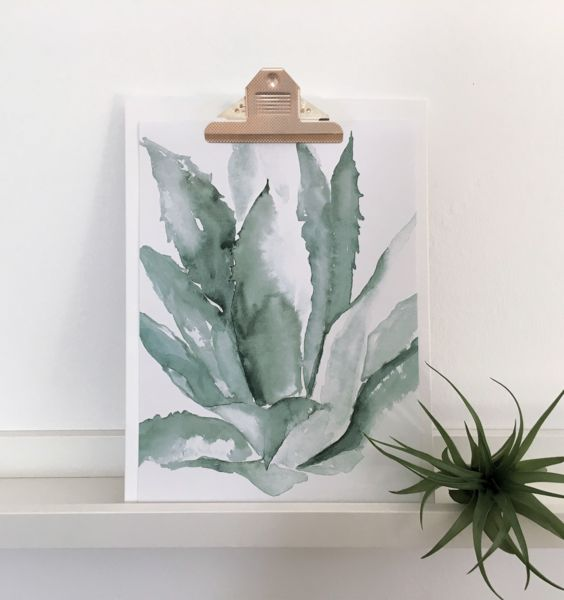 Digitaldruck - Kunstdruck Aquarell AGAVE | Poster A4 - ein Designerstück von Suesswarenladenfrau bei DaWanda #cactus #agave #aloevera #kaktus #sukkulente