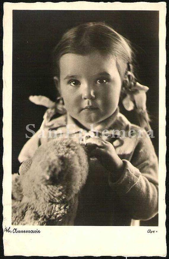 GIRL W/TEDDY BEAR Mohair Steiff Teddy Bear vintage by SamEphemera, $24.99