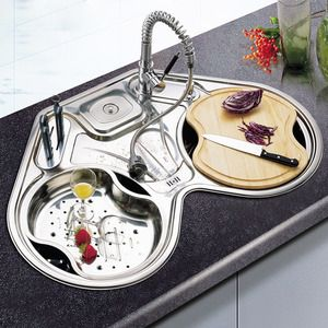 Stainless Steel Round Kitchen Sinks(Faucet Included), $219.99