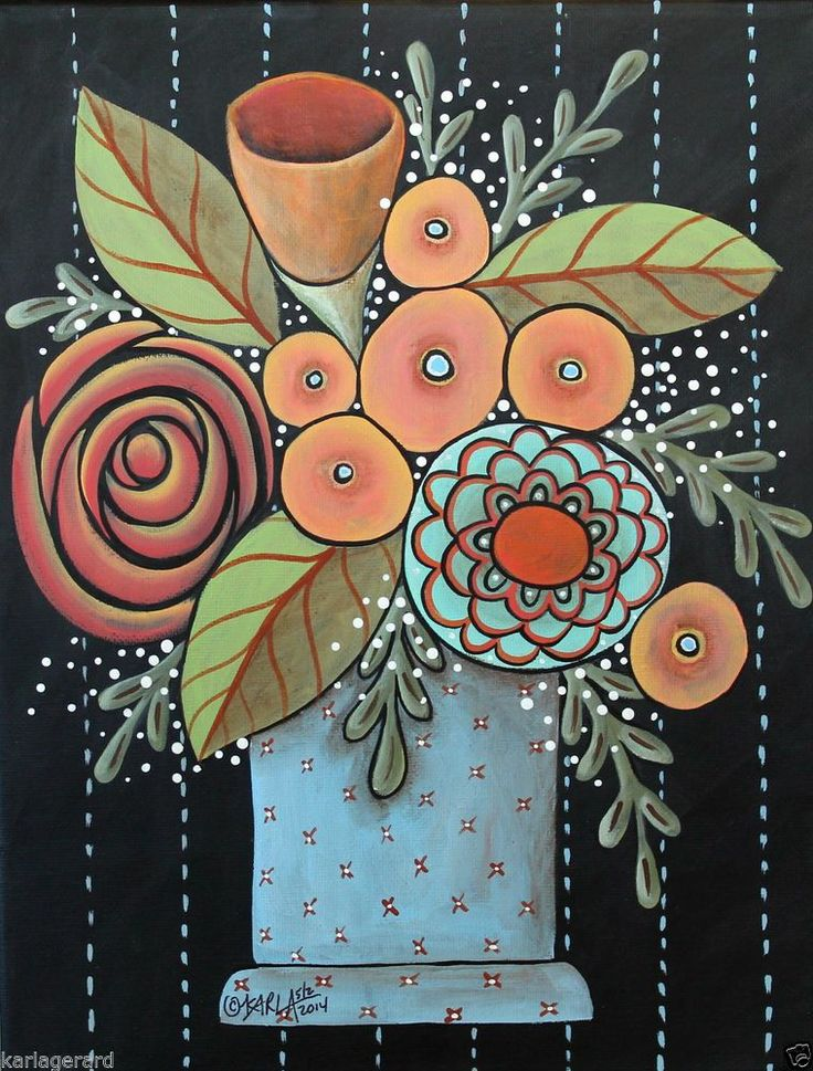 Prim Blooms 11x14 inch ORIGINAL Canvas PAINTING Abstract FOLK ART Karla Gerard..brand new painting for sale...ready to hang...