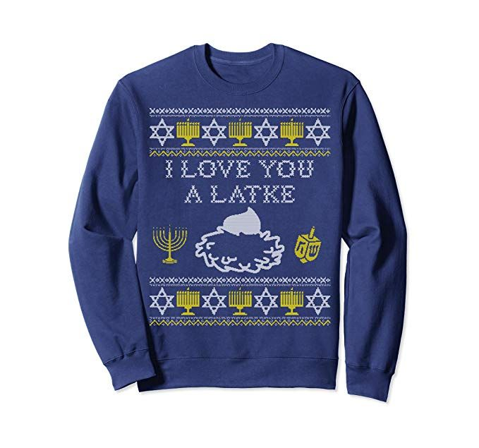 Funny Happy Hanukkah Ugly Sweater Gift Jewish Dreidel Sweatshirt