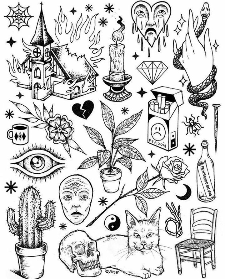 Black And White Tattoo Flash Art