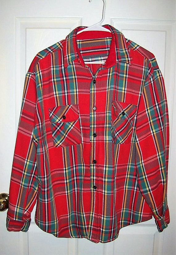 Vintage 1960s Men's Red Plaid Flannel Shirt Homemade Large