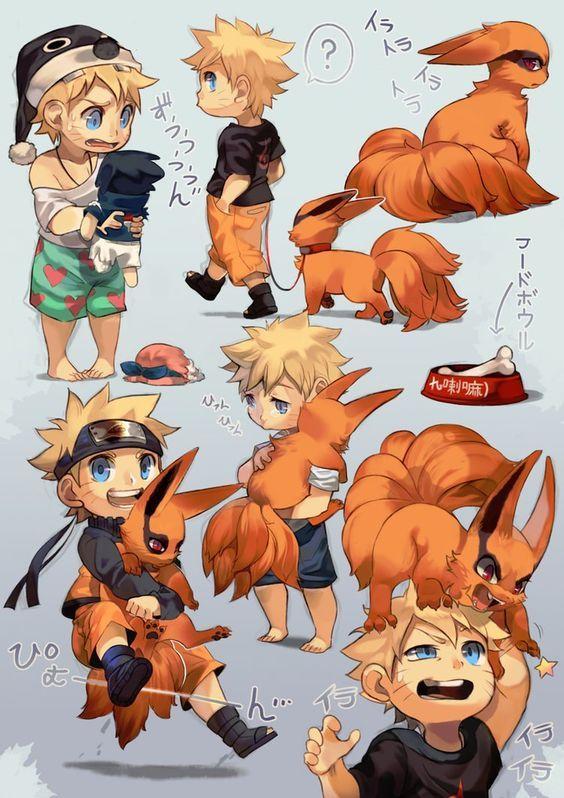 Naruto ~ Naruto and Kurama Chibis by Uzucake