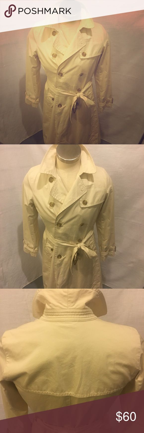 Banana Republic Classic Trench Coat Just in time for the rainy season  Excellent condition, like new  They took their ever-popular trench and made it a double-breasted closure. Plus, they added a water-resistant coating so you're always ready for wet weather. Long sleeves with buckle cuffs.  Buckle belt with back belt loops. Front angled pockets. Fully lined. Banana Republic Jackets & Coats Trench Coats