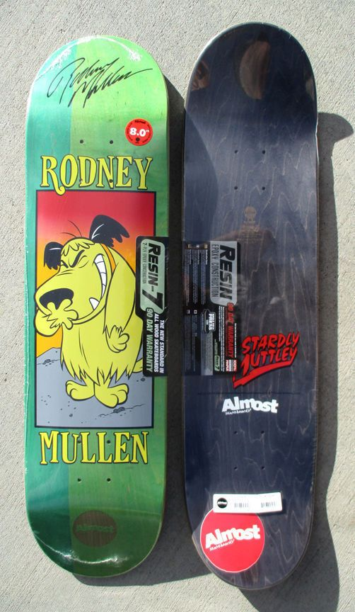 "Here is a hand signed Rodney Mullen 8"" MUTTLEY deck. These decks were signed exclusively for Decomposed skateboards. The autographed is signed with a sharpie and then shrink wrapped at the factory with the barcode above the shrinkwrap. 