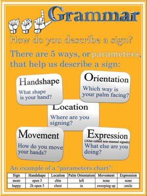 Grammer: How do you describe a sign? There are 5 ways, or parameters, that help us describe a sign: Hand shape, Orientation, Location, Movem...