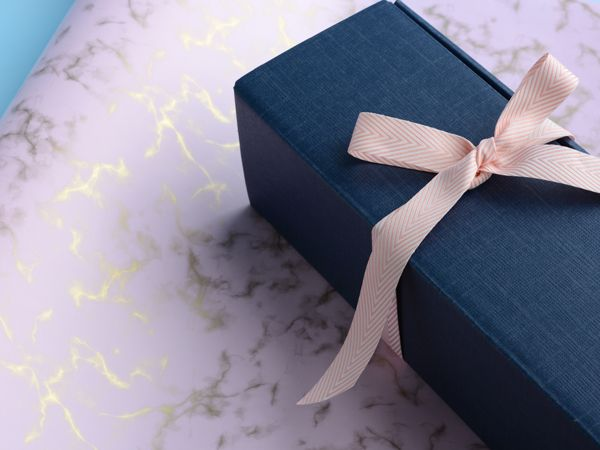 Navy wine box with pink/gold marble wrap