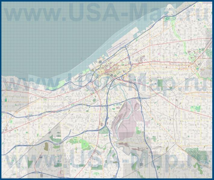 Подробная карта города Кливленд