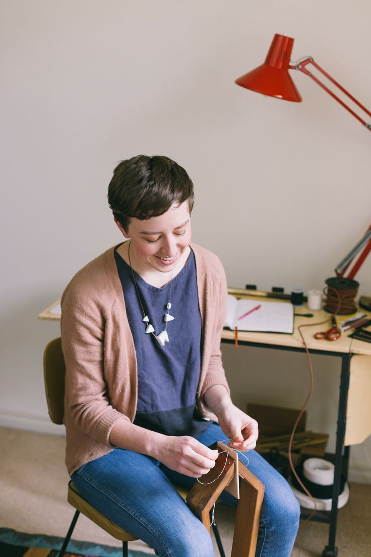 Hand stitching in the studio.  Georgie Cummings