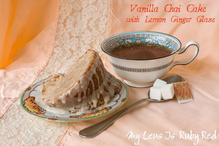 Vanilla Chai Cake with Lemon Ginger Glaze made with Bigelow Tea