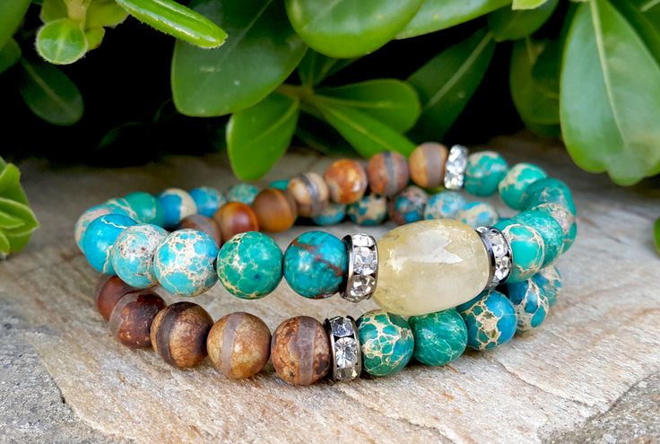 2 Wrap Mens Gemstone Beaded Boho Bracelet, Blue, Green Jasper, Citrine, Tibetan Agate Beaded Wrap Stretch Mens Bracelet Jewelry, Mens Gift