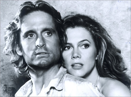 Kathleen Turner and Micheal Douglas in 'Romancing the Stone'