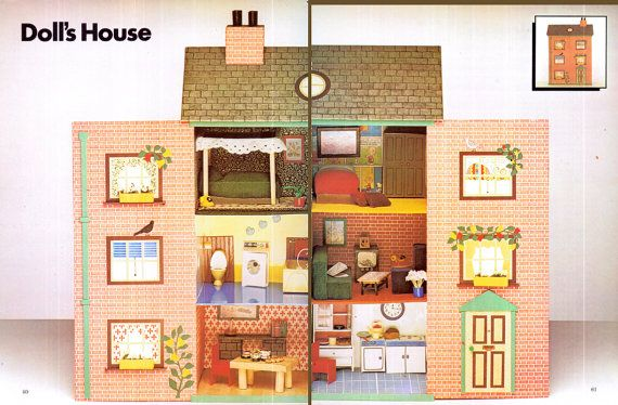 PDF Genuine Vintage 1970s CARDBOARD Dolls House and Matching Furniture Crafts Pattern  like Carolines Home Recycling