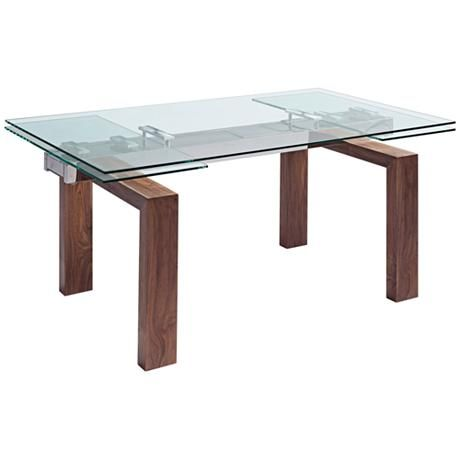 Davy Walnut Wood and Glass Top Extendable Dining Table