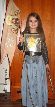 Joan of Arc Costume with instructions to make the banner.   Catholic Inspired