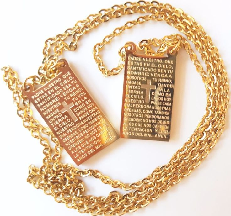 Our Lords Prayer Padre Nuestro Scapular Medal. 18K Gold Plated Vintage #prettyrosary