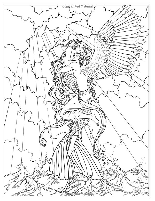 Coloring Pages Mermaids Realistic