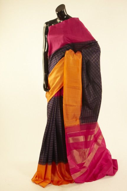 Kancheepuram, Kanjipuram- silk dark violet purple saree with blouse