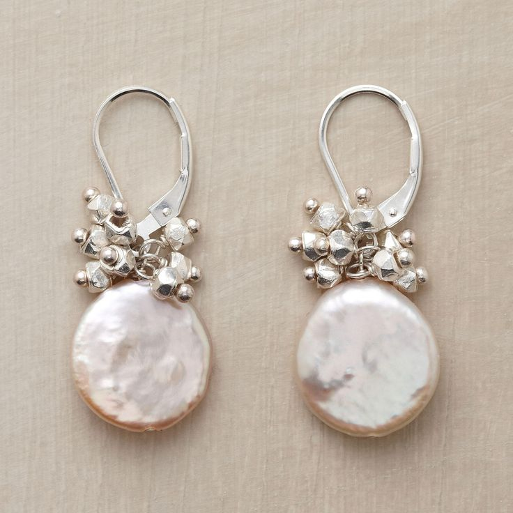 """STARSHOWER EARRINGS--In these silver and coin pearl earrings, shiny sterling silver nuggets rain starlight down on cultured coin pearls. Handmade in USA with sterling silver lever backs. Exclusive. 1-1/4""""L."""