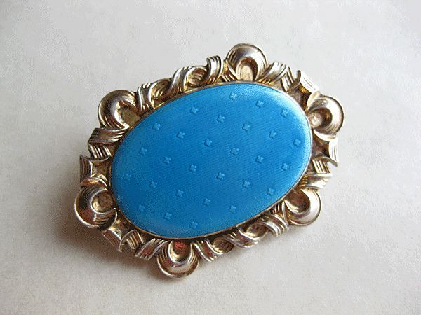 Antique Jakob Tostrup Brooch 830 Silver Enamel Norway Pale Blue from quick-red-fox on Ruby Lane