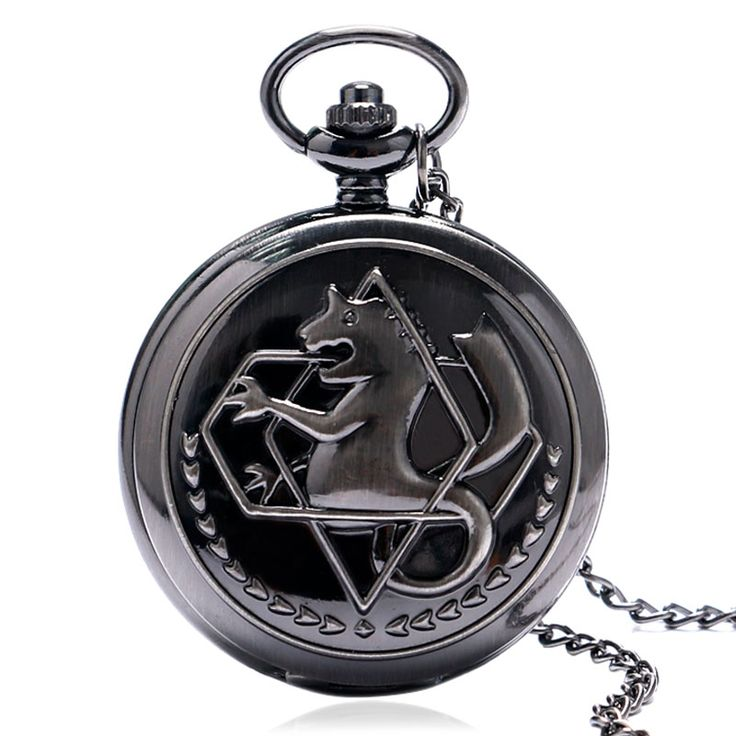 New Steampunk Silver/Grey/Bronze Tone Fullmetal Alchemist Pocket Watch Necklace Pendant Anime Boys Gift Reloj De Bolsillo