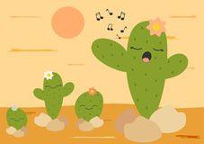 Cacto bonito dos desenhos animados que canta na ilustração engraçada do deserto Fotografia de Stock Royalty Free