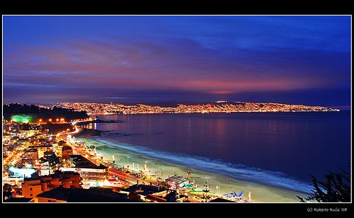 Valparaiso, Chile. From here, on New Years, there is a fantastic fire works display.