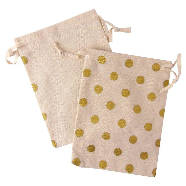 4ct Gold Polka Dot Canvas Favor Bag - Spritz,