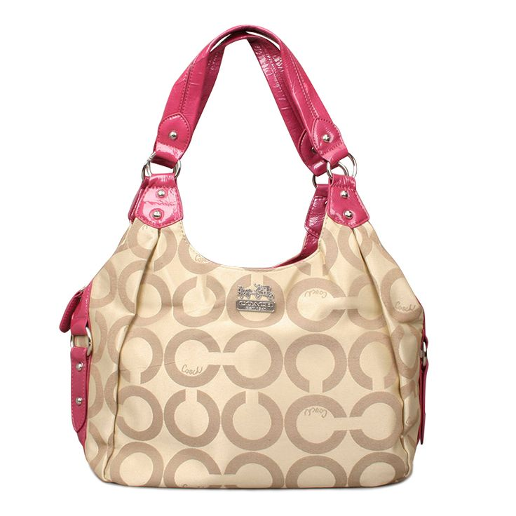 #Coach High Quality Coach Legacy Logo Signature Medium Pink Khaki Hobo ENO Is The Symbol Of The Top Social Status!