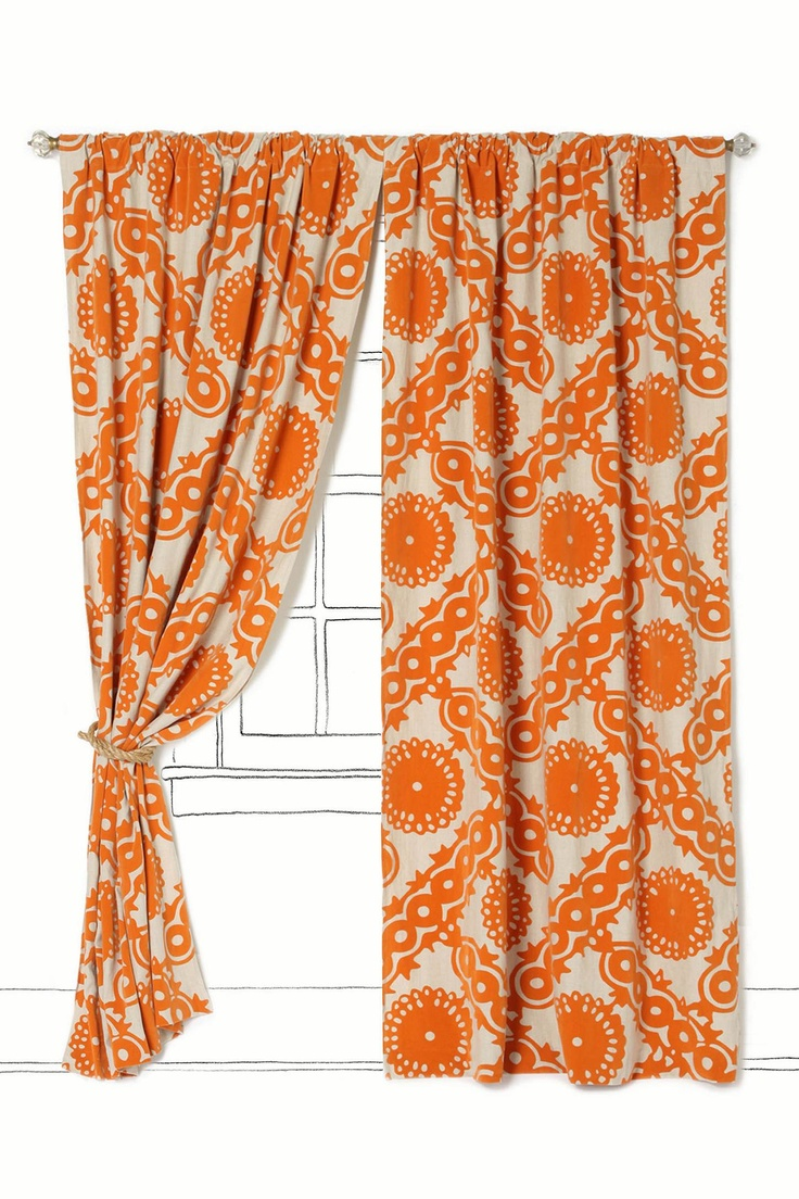 Need these-- have been looking for orange curtains for my bedroom.: Orange Curtains, Dining Rooms, Idea, Living Rooms, Anthropology, Pattern, Bold Curtains, Climbing Vines, Vines Curtains