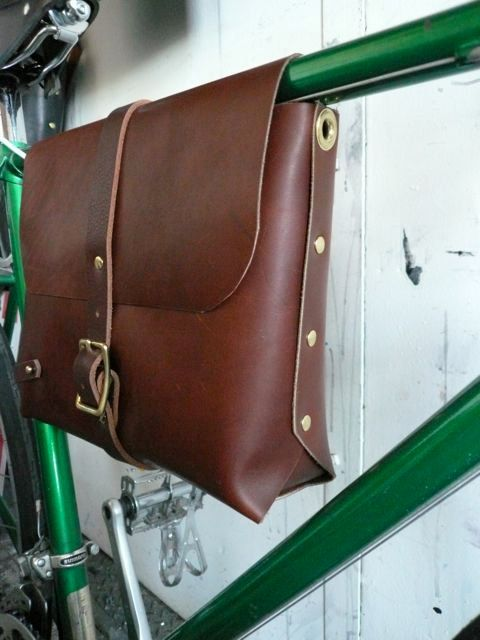 large bicycle frame bag in brown by fluxproductions