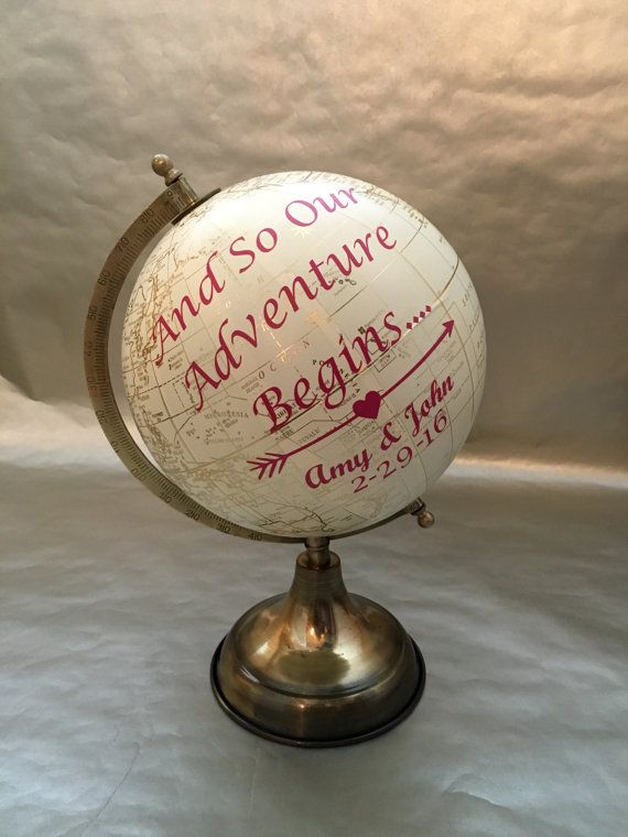 Custom Travel Wedding World Globe Guest by AdventureTravelsShop