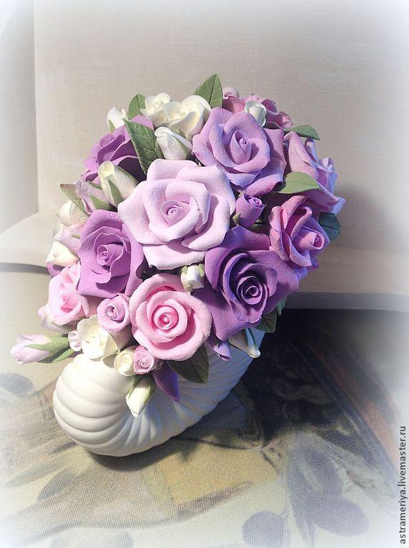 Купить Букет для интерьера Прованские розы из полимерной глины - розовый, интерьерная композиция, подарок