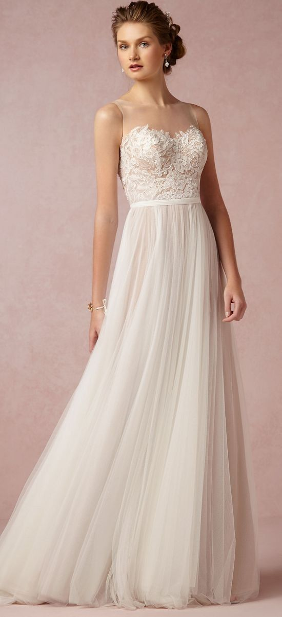 Bhldn simple beach wedding dress / http://www.deerpearlflowers.com/beach-wedding-dresses-with-gorgeous-details/2/