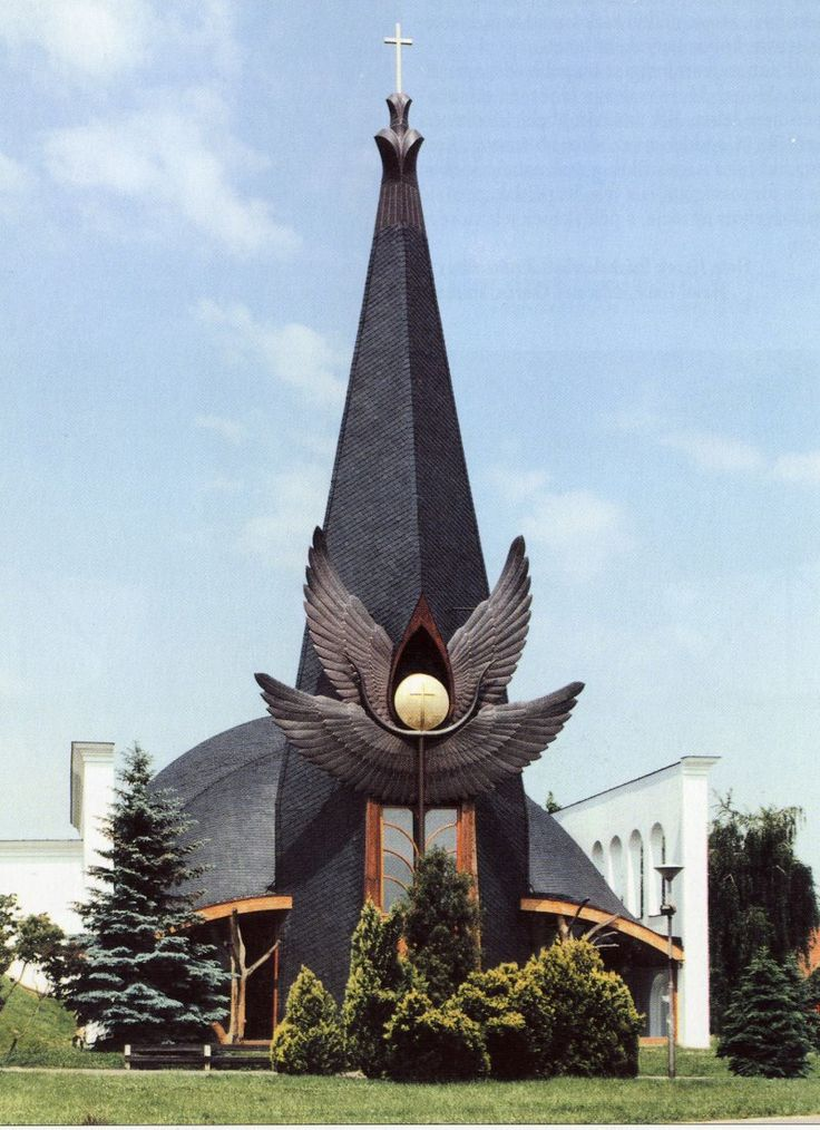 Százhalombattai Roman Catholic Church,  Hungary; designed by Imre Makovecz, 1996